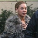 Beyonce Keeps Herself Warm In Fur Coat
