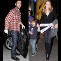 Adam Levine Covers His Bits At The Lakers Game, Hilary Swank Brings Her Boy