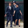 Victoria Beckham Dresses Up Her Baby Bump For The Royal Wedding, David Wears Top Hat