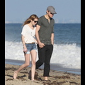 Emma Roberts And Chord Overstreet Stroll Through The Malibu Sand Hand In Hand