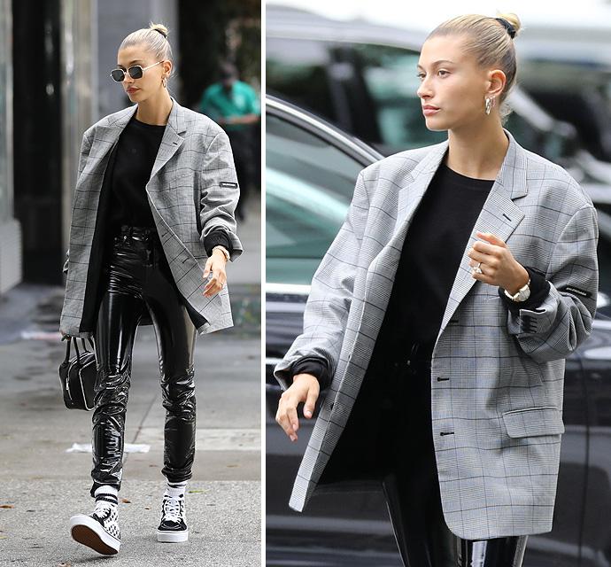 Hailey Baldwin-Bieber's Ballin' In A Black-And-White Balenciaga Blazer - X17 Online