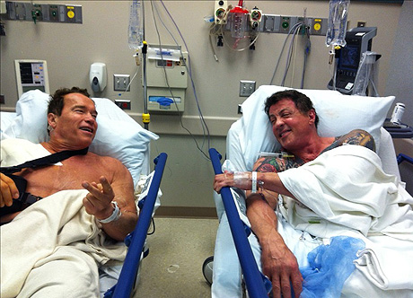 Arnold Schwarzenegger, Sylvester Stallone Are Shirtless Hospital Patients! - X17 Online - X17 Online x17online.com