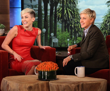 Image result for Miley Cyrus helps Ellen DeGeneres