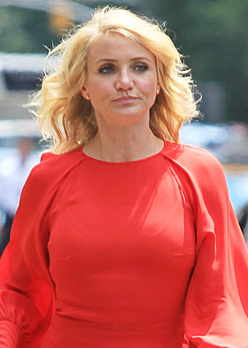 Cameron Diaz angry red dress radio interview