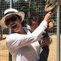 Kim Kardashian's Baby Girl And A Giraffe Share A Close Encounter