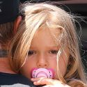 Victoria And David Beckham Bring A Blonde Harper And Her Paci To SoulCycle