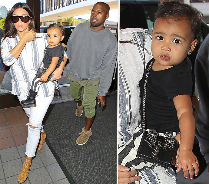 Nori Carries A YSL Purse As She Jets Out Of Town With Kim And ...