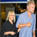 Jessica Simpson Returns To Los Angeles In Leather Jogging Pants And High Heels