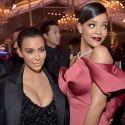 Rihanna Gets Up Close And Personal With Kim Kardashian's Cleavage At Charity Bash
