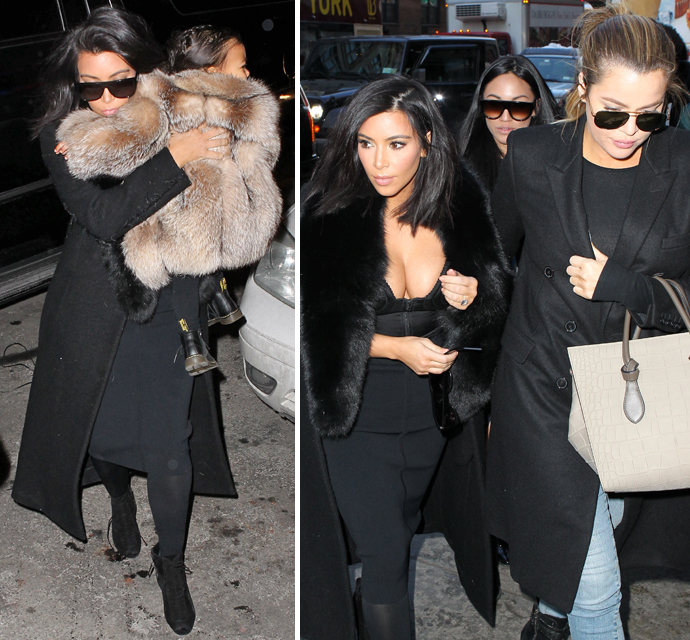 Kim Kardashian Bundles Herself And Daughter Nori In Fur Coats For ...