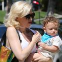 Gwen Stefani And Apollo Wear Matching Plaid Ensembles To Visit The Grandparents