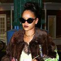 Rihanna Wears A Funky Fur To The Studio