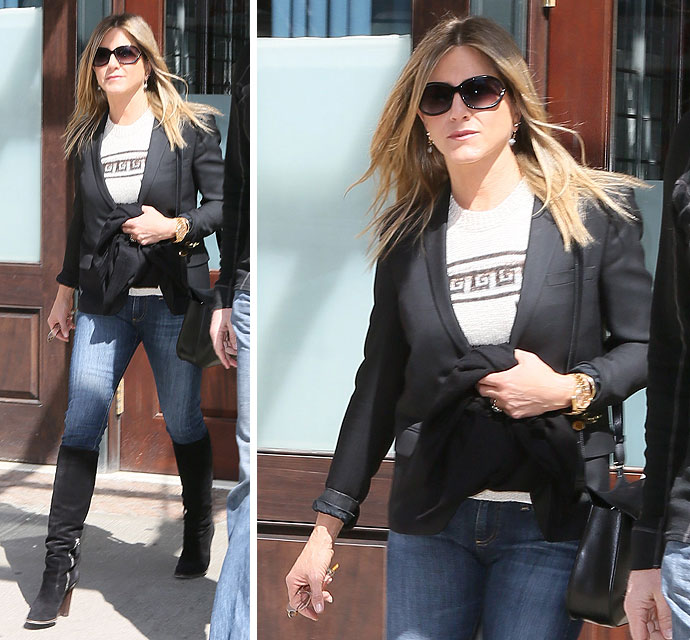 Jennifer Aniston Steps Up The Sex Appeal In Knee-High Boots - X17 ...