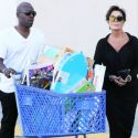 """Kris Jenner And Corey Gamble Grab A Mountain Of Easter Toys For The Tots At Toys """"R"""" Us"""
