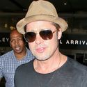 Does Brad Think He's A Kardashian?! Pitt Exposes His Chest In See-Thru Top At LAX!