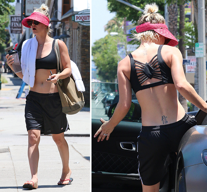 kaley cuoco is too sexy for her shirt after sweating it out at yoga
