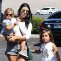 Hot Mama Kourtney Kardashian Rocks A Super Sexy Outfit At Chuck E. Cheese's