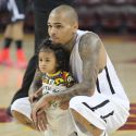 Chris Brown Dotes On Daughter Royalty At Charity Basketball Game