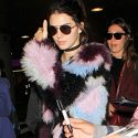 Kendall Jenner Touches Down At LAX In A Funky Fur