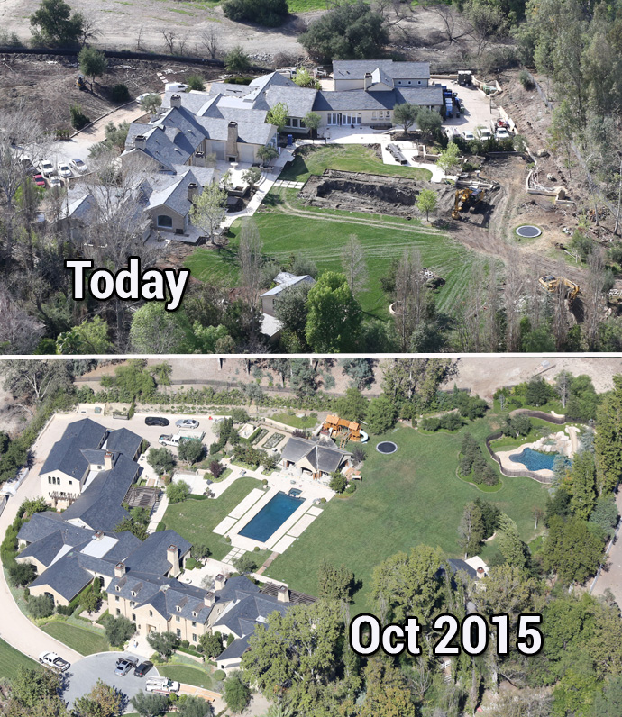 Exclusive Kim And Kanye Rip Out Pool Vineyard In Calabasas Mansion Remodel