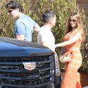 Sofia Vergara Squeezes Into An Orange Dress For A Hot Date With Her Hubby