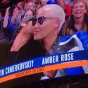 Amber Rose Gets A Smooch From Boyfriend Val Chmerkovskiy On The Kiss Cam