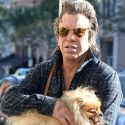 Mickey Rourke Rocks A Pompadour With His Pomeranian Pooch