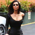 Kim Kardashian Flaunts Her Tiny Waist In A Leather Skirt