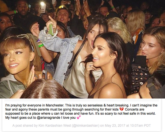 Kim Kardashian Slammed For Insensitive Tribute To Ariana Grande Concert Victims