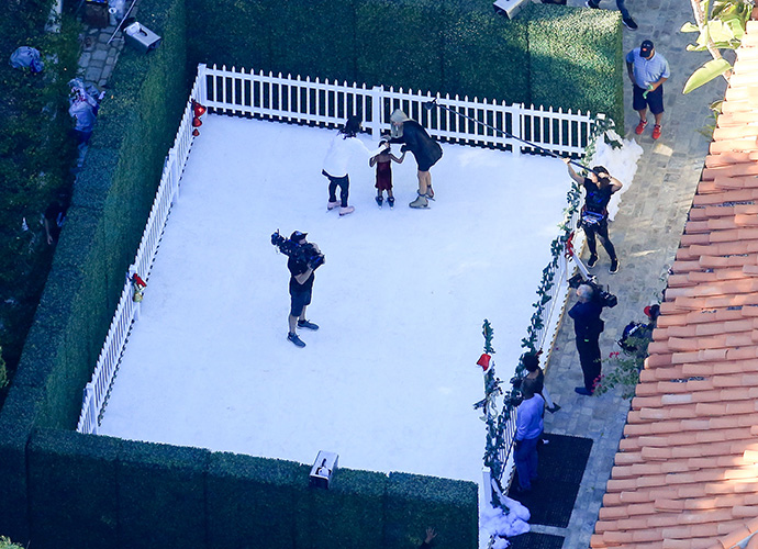 The Kardashians film Christmas special in the Californian snow… in October