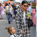 "<em><span class=""exclusive"">EXCLUSIVE PHOTOS</span></em> - Kourtney And Reign Dress In Mommy-And-Me Matching Black And White"