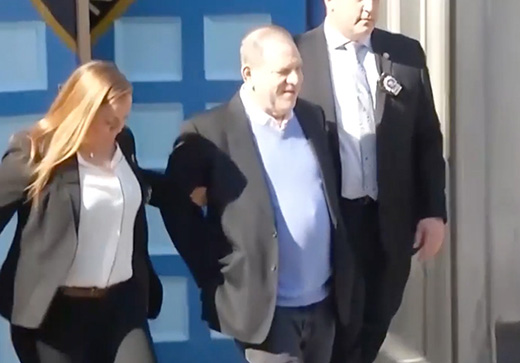 Harvey Weinstein surrenders and is charged with three counts of rape, before being released on $1M bail.