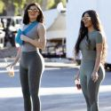 """<em><span class=""""exclusive"""">EXCLUSIVE PHOTOS</span></em> - Kim And Kylie Show Off Their Impossible Curves In New Yeezy Looks"""