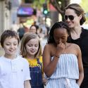 """<em><span class=""""exclusive"""">EXCLUSIVE PHOTOS & VIDEO</span></em> - Angelina Jolie Takes Twins Knox And Vivienne And Daughter Zahara Out For Sushi"""