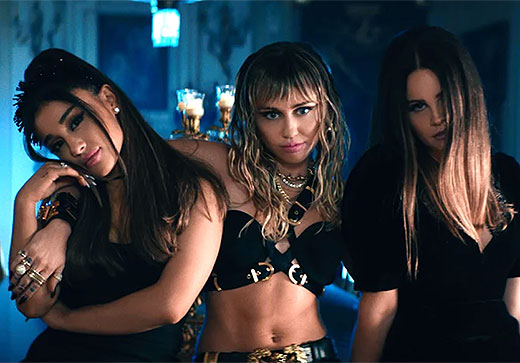 """Miley Cyrus, Ariana Grande, and Lana Del Rey release their new music video for """"Don't Call Me Angel"""" from the upcoming <em>Charlie's Angels</em> soundtrack. Watch!"""