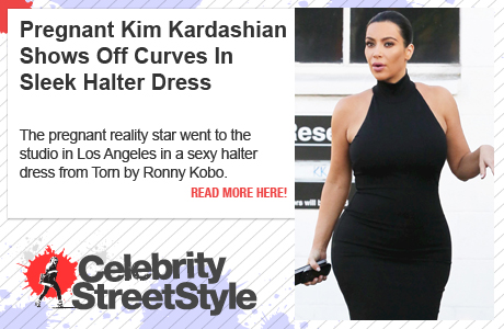 Pregnant Kim Kardashian Shows Off Her Curves In Halter Dress