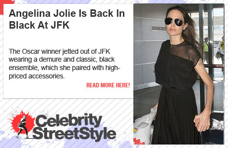 Angelina Jolie Is Back In Black At JFK