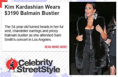 Kim Kardashian Wears $3190 Balmain Bustier And Oversized Earrings To Sam Smith Concert