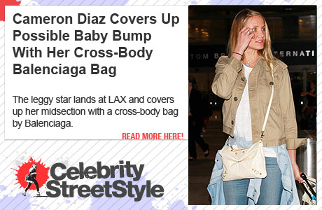 Cameron Diaz Is All About Her Cross-Body Balenciaga Bag And Matching Luggage