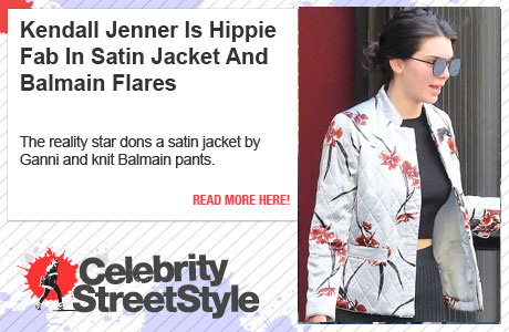 Kendall Jenner Goes Hippie Chic In Satin Jacket