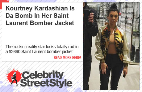 Kourtney Kardashian Is Da Domb In Saint Laurent Bomber Jacke