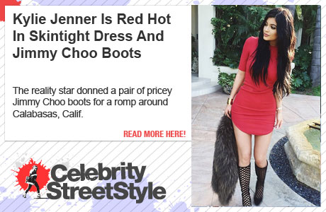 Kylie Jenner Goes For Sexy Cut-Out Jimmy Choo Boots And A Red-Hot Dress