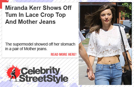 Miranda Kerr Shows Off Her Taut Tum In Crop Top And Mother Jeans