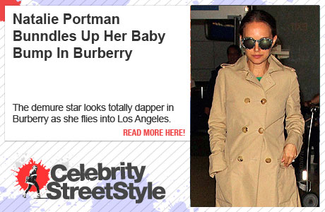Natalie Portman Bundles Up Her Bump In Burberry