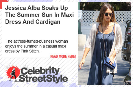 Jessica Alba Is Soaking Up The Summer In Pink Stitch Maxi Dress