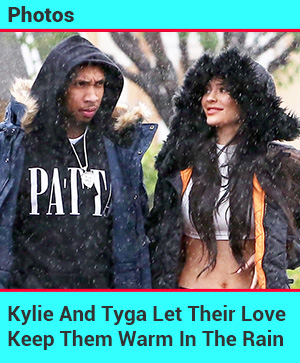 Kylie And Tyga Brave The Rain